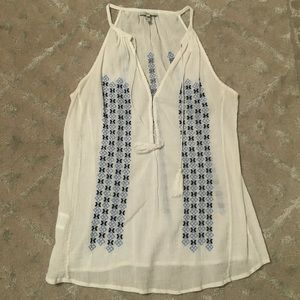 Joie gauzy embroidered tank with tassels - small
